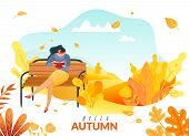 Autumn people poster. a woman sitting on a bench in the autumn Park read a book defoliation autumn flora poster
