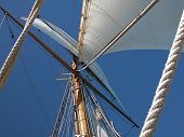 Close-up view of mast and rigging of a tall ship against a clear blue sky. poster