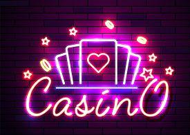 Casino Poker Signs. Neon Logos Slot Machine Gambling Emblem, The Bright Banner Neon Casino For Your