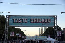 July 10, 2019, Chicago, Il, Taste Of Chicago Front Entrance Sign Banner On Columbus Drive In Grant P