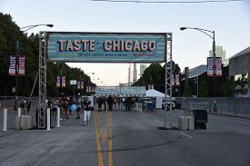 July 10, 2019, Chicago, Il, Taste Of Chicago Front Entrance And Sign Banner On Columbus Drive In Gra