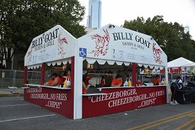 Chicago, Il July 10, 2019, Billy Goat Bar And Grill Food Stand At The Taste Of Chicago Outdoor Food
