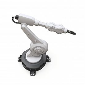 Robotic Arm For Any Work In A Factory Or Production. Mechatronic Equipment For Complex Tasks. 3d Ill