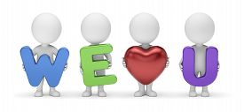 3d Small People - Team Of Four Cute Cartoon Guys Composing Stylized Phrase We Love You With Letters