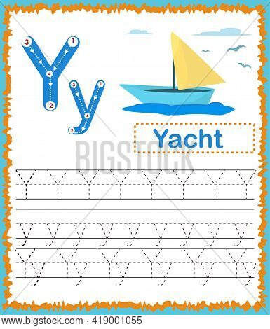 Vector Illustration Of Exercises With Cartoon Vocabulary For Kids. Colorful Letter Y Uppercase And L
