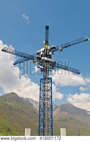 Castione, Switzerland - 26th April 2021 : View Of The Energy Vault Crane Tower In Switzerland. Energ