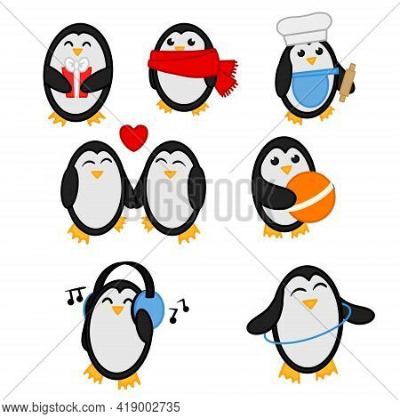 Collection Of Clip Art Cute Penguins. Set Of Illustrations Of Penguins Isolation On White Background