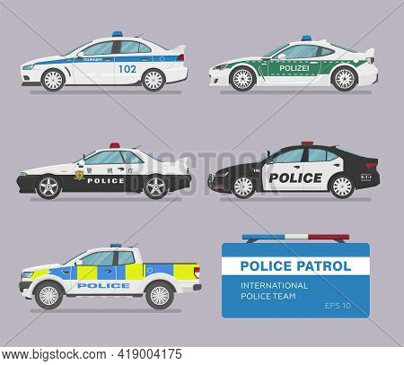 Translation: Police. Set Of Isolated Police Cars. Flat Illustration, Icon For Graphic And Web Design