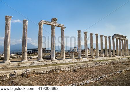 Panoramic View Of Well Preserved Colonnaded Street In Ancient City Laodicea, Denizli, Turkey. All Co