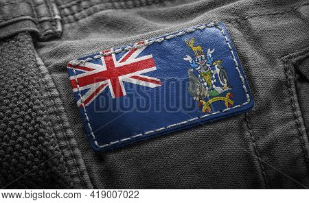Tag On Dark Clothing In The Form Of The Flag Of The South Georgia And The South Sandwich Islands