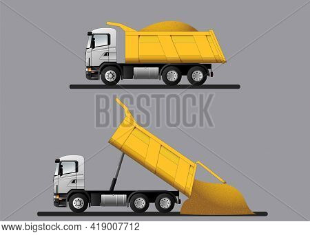 A Set Of Dump Trucks With Transported Cargo And Unloading. Flat Vector Illustration.