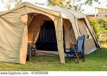 Large Spacious Tent Setup At The Campsite In Caravan Holiday Park In Australia