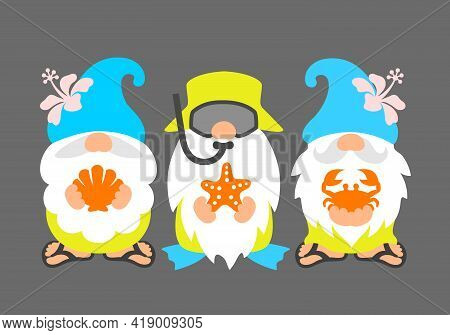 Beach Gnomes. Funny Summer Gnome. Cute Scandinavian Characters On The Sea.