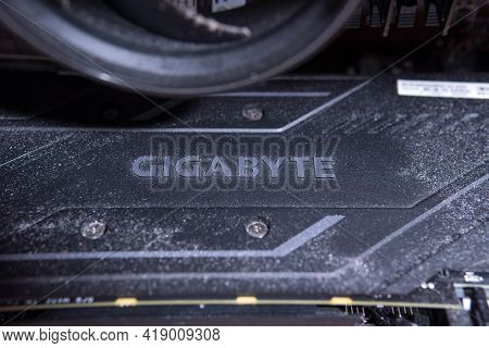 Tyumen, Russia-april 26, 2021: Graphic Video Card Gigabyte Logo. Cryptocurrency Concept.