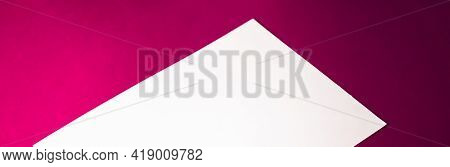 Blank A4 Paper, White On Pink Background As Office Stationery Flatlay, Luxury Branding Flat Lay And