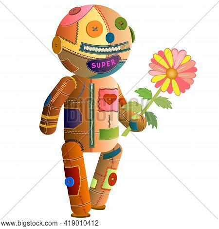 Vector Cartoon Voodoo Doll. Halloween. Excellent For The Design Of Postcards, Posters,