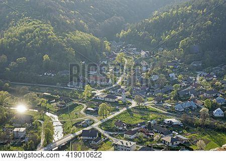 Visnove Village From Cachtice Castle, Slovak Republic. Travel Destination.