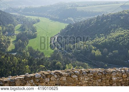 View From Cachtice Castle Ruins - Slovak Landscape With Forests, Meadows And Fields. Travel Destinat
