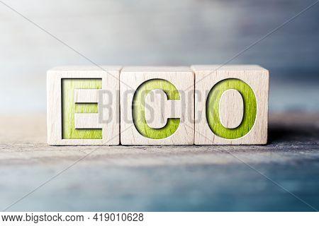 Eco Written On Wooden Blocks On A Board