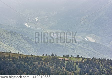 Mountain Hut Under Chleb Hill, Little Fatra, Slovak Republic. Hiking Theme. Seasonal Natural Scene.