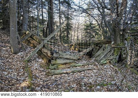 Destroyed Wooden Hut, Big Fatra Mountais, Slovak Republic. Hiking Theme. Seasonal Natural Scene.