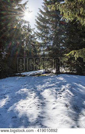 Lysec, Big Fatra Mountains Scene, Slovak Republic. Hiking Theme. Seasonal Nature.