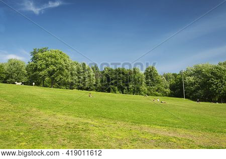 Montreal, Canada.  July 8, 2019. A Hill Within The Mount Royal Park On A Blue Sky Sunny Day In Montr