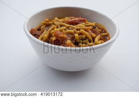 Famous And Authentic Gujarati Food Sev Tamatar Or Sev Tameta Sabji Made Out Of Tomato Vegetable And