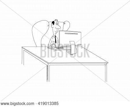 Funny Cartoon Bald Man Or Nerd Guy Sit In Chair At Desk Working On Computer. Funny Male Clerk Or Pro