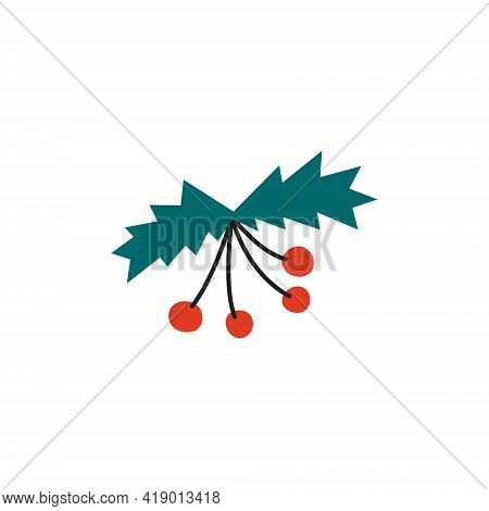 Vector Illustration Of Rowan Or Mountain Ash On A White Isolated Background.