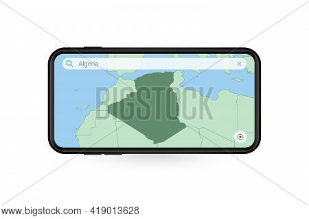 Searching Map Of Algeria In Smartphone Map Application. Map Of Algeria In Cell Phone. Vector Illustr