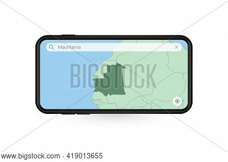 Searching Map Of Mauritania In Smartphone Map Application. Map Of Mauritania In Cell Phone. Vector I
