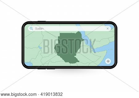 Searching Map Of Sudan In Smartphone Map Application. Map Of Sudan In Cell Phone. Vector Illustratio