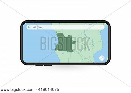 Searching Map Of Angola In Smartphone Map Application. Map Of Angola In Cell Phone. Vector Illustrat