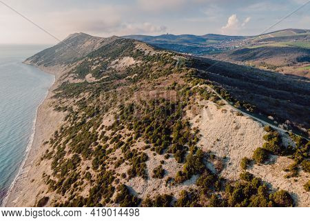 Aerial View Of Coastline With Sea And Cliff With Evergreen Trees.