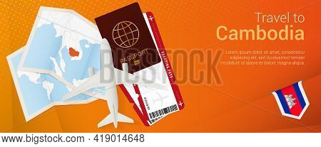 Travel To Cambodia Pop-under Banner. Trip Banner With Passport, Tickets, Airplane, Boarding Pass, Ma