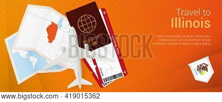 Travel To Illinois Pop-under Banner. Trip Banner With Passport, Tickets, Airplane, Boarding Pass, Ma