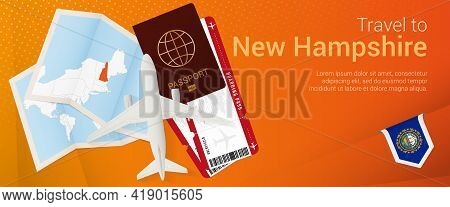 Travel To New Hampshire Pop-under Banner. Trip Banner With Passport, Tickets, Airplane, Boarding Pas