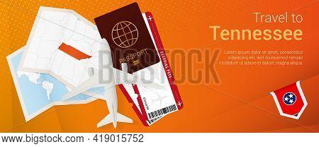 Travel To Tennessee Pop-under Banner. Trip Banner With Passport, Tickets, Airplane, Boarding Pass, M