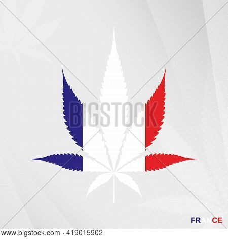 Flag Of France In Marijuana Leaf Shape. The Concept Of Legalization Cannabis In France. Medical Cann