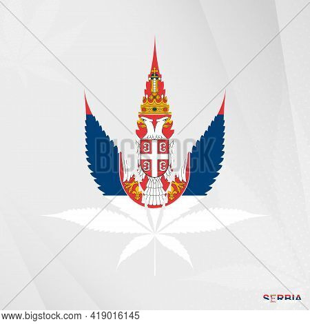 Flag Of Serbia In Marijuana Leaf Shape. The Concept Of Legalization Cannabis In Serbia. Medical Cann