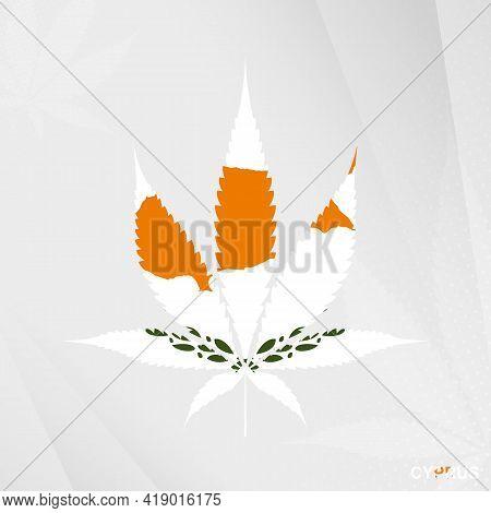 Flag Of Cyprus In Marijuana Leaf Shape. The Concept Of Legalization Cannabis In Cyprus. Medical Cann