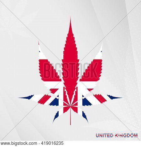 Flag Of United Kingdom In Marijuana Leaf Shape. The Concept Of Legalization Cannabis In United Kingd
