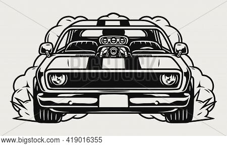 Custom Muscle Car Front View Concept In Vintage Monochrome Style Isolated Vector Illustration