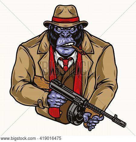 Angry Gorilla Gangster In Fedora Hat Suit Coat Red Scarf Smoking Cigar And Holding Thompson Submachi