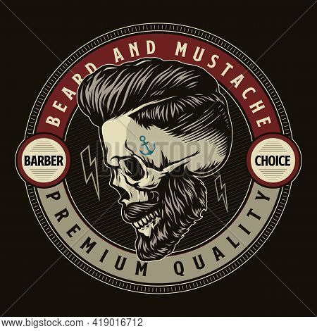 Barbershop Vintage Colorful Round Emblem With Inscriptions And Stylish Bearded And Mustached Hipster