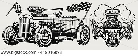 Hot Rod Classic Custom Car Concept With Automobile With Flame Decal Engine And Racing Checkered Flag