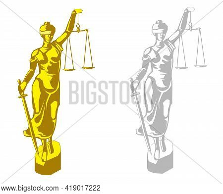 Vector Illustration Justice Goddess Themis, Lady Justice Femida In Two Color Styles