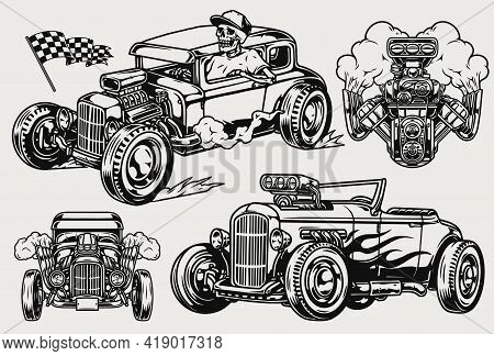 Hot Rods Vintage Monochrome Composition With Powerful Retro Cars Turbo Engine Racing Checkered Flag
