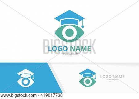 Eye And Graduate Hat Logo. Unique College Logotype Design Template.